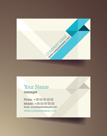 Set of horizontal blue elegant abstract business cards.