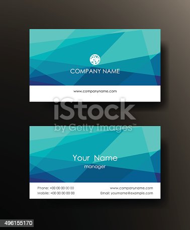 Set of horizontal blue elegant abstract mosaic business cards.