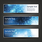 Set of Three Bright Blue Christmas or New Years banners in Freely Scalable and Editable Vector Format