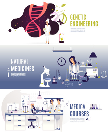 set of horizontal flat vector banner. Genetic DNA engineering, natural medicine, medical courses for doctors and researchers. Scientific center of biology, in blue shades scales