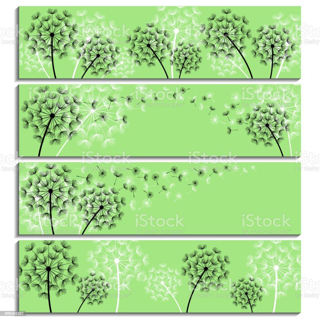 Conjunto de banners verdes horizontais com cotão de leão - ilustração de arte em vetor