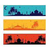 Set of horizontal islamic ramadan banners