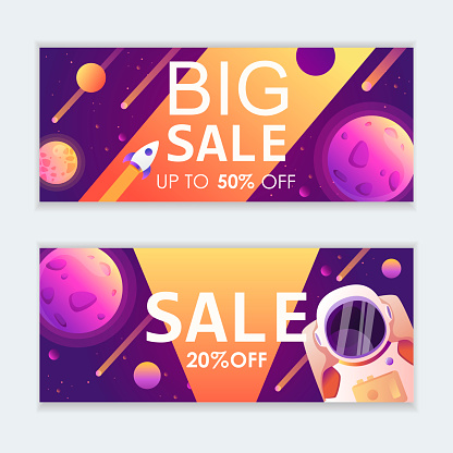 Set of horizontal templates for web banners, advertisements, flyers, posters. Space modern background. Vector illustration.