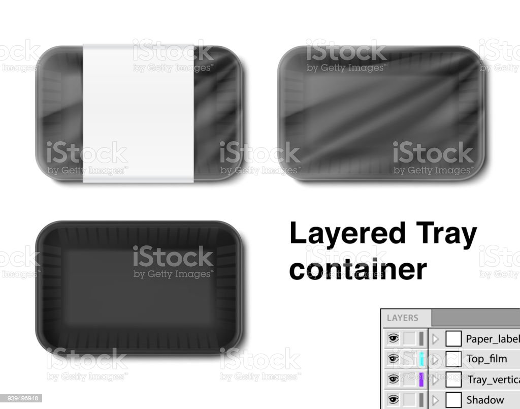 Set of horizontal tray container. vector art illustration