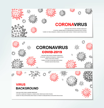 Set of horizontal virus banners with hand drawn design elements. Microscope virus close up. Vector illustration in sketch style. COVID-2019