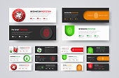 set of horizontal web banners to protect information and data. Templates of white and black color with padlock, fingerprint, buttons and mechanical combination lock.