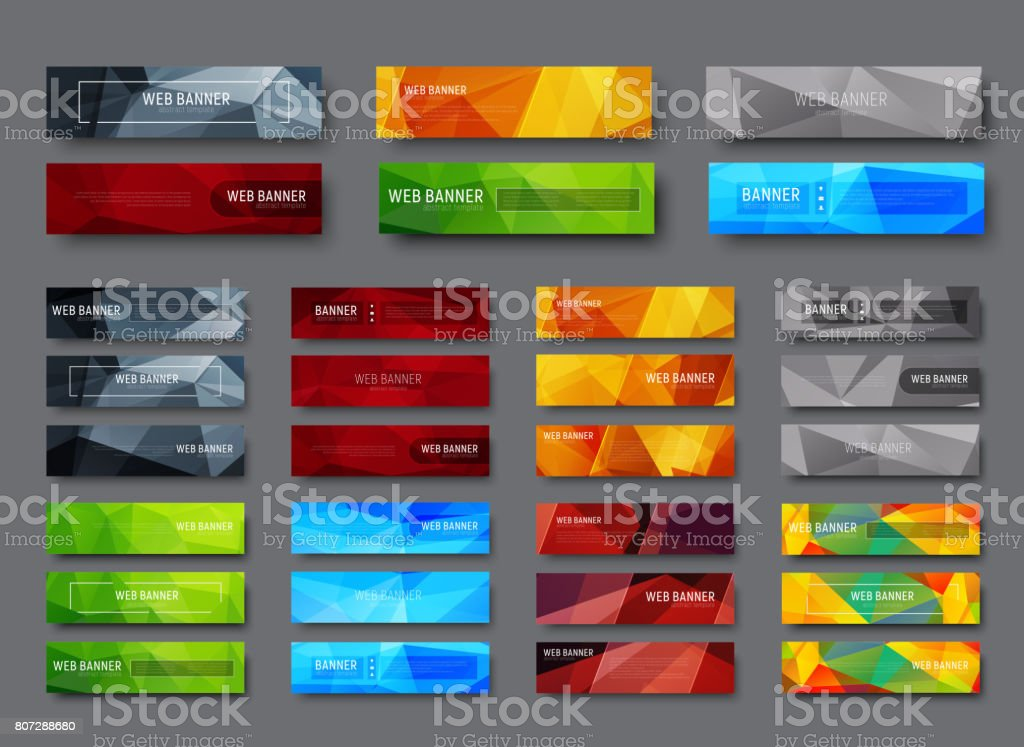 Set of horizontal web banners with multicolored polygonal abstract background vector art illustration