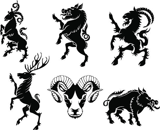 Set of horned heraldry Set of black silhouette on horned animal heraldry element.ZIP contain AI12cs2,EPS8,large JPEG and PDF files. bristle animal part stock illustrations