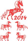 Set of horse - symbol of Chinese New Year 2014.  Chinese Paper-cutting.