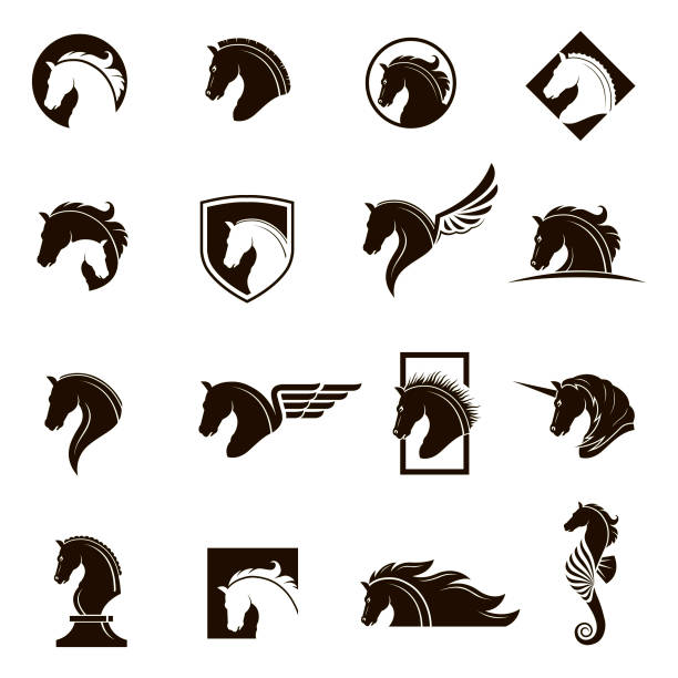 set of horse icons vector art illustration