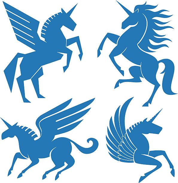 set of horses - pegasus stock illustrations