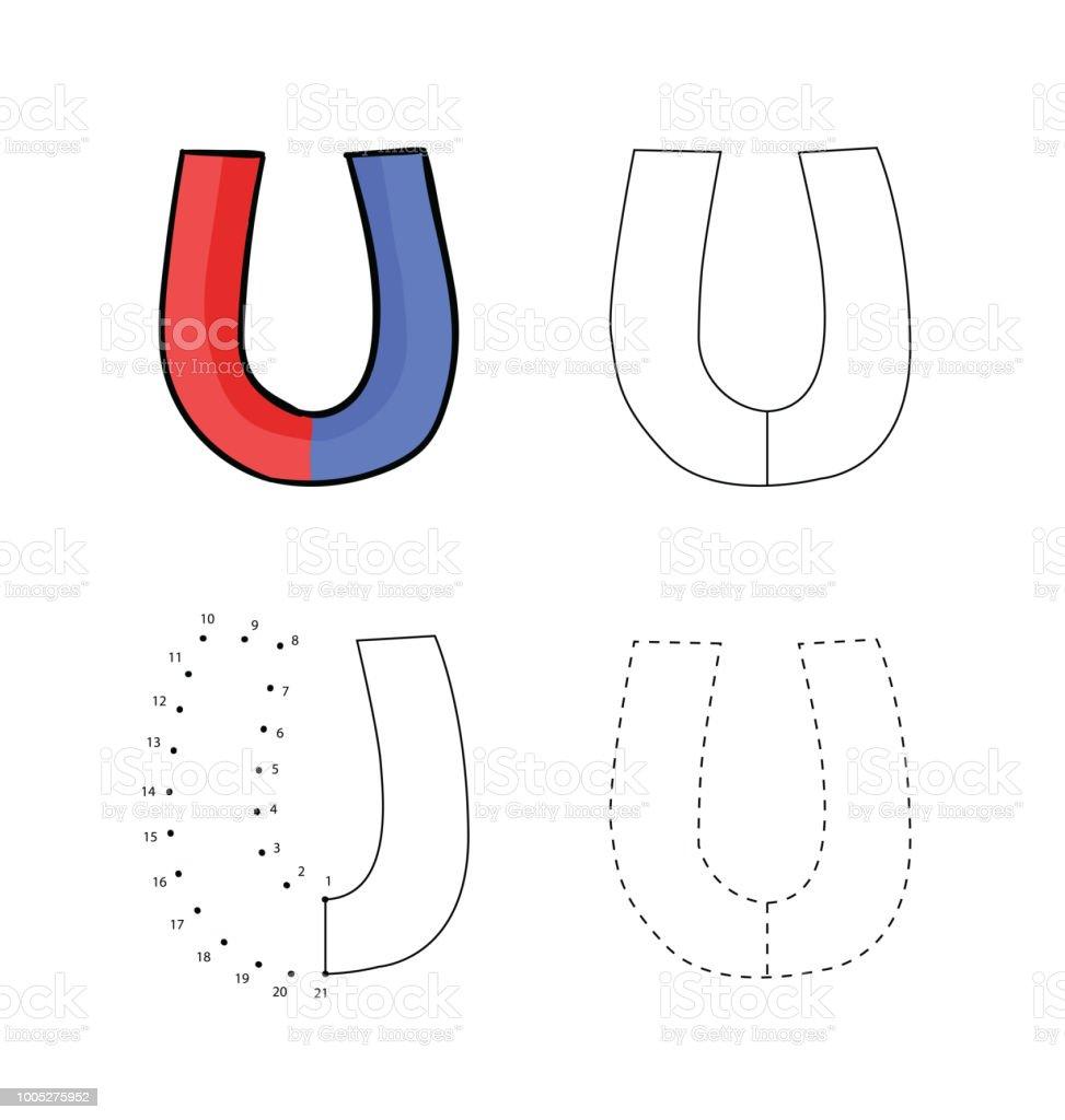 ilustração de conjunto de ímans em forma de ferradura para crianças