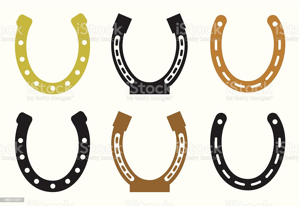 Set of horseshoe vector art illustration