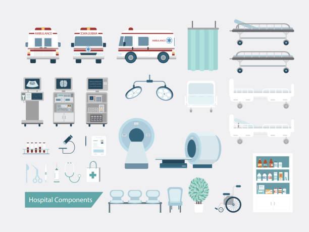 Set of hospital components vector art illustration