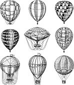 Set of Hot Air Balloon. Vector retro flying airships with decorative elements. Template transport for Romantic logo. Hand drawn Engraved vintage sketch