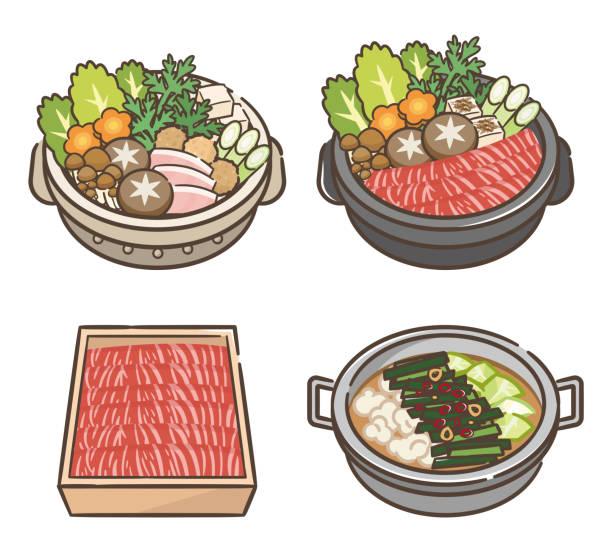野菜と肉の鍋のセット。 - 鍋点のイラスト素材/クリップアート素材/マンガ素材/アイコン素材