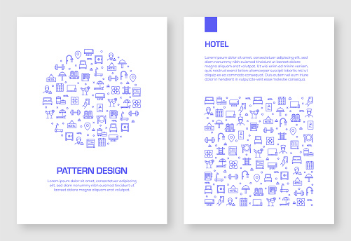 Set of Hotel Facilities Icons Vector Pattern Design for Brochure,Annual Report,Book Cover.
