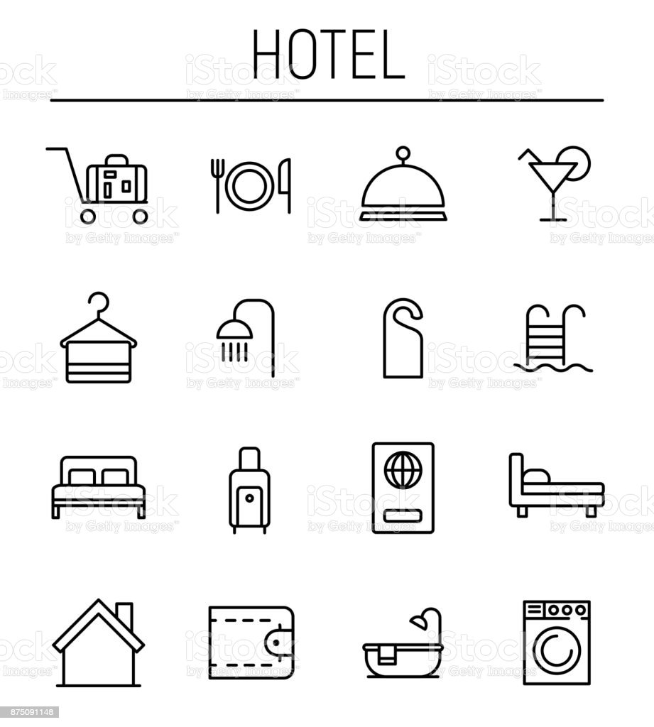 Set of hotel icons in modern thin line style. vector art illustration