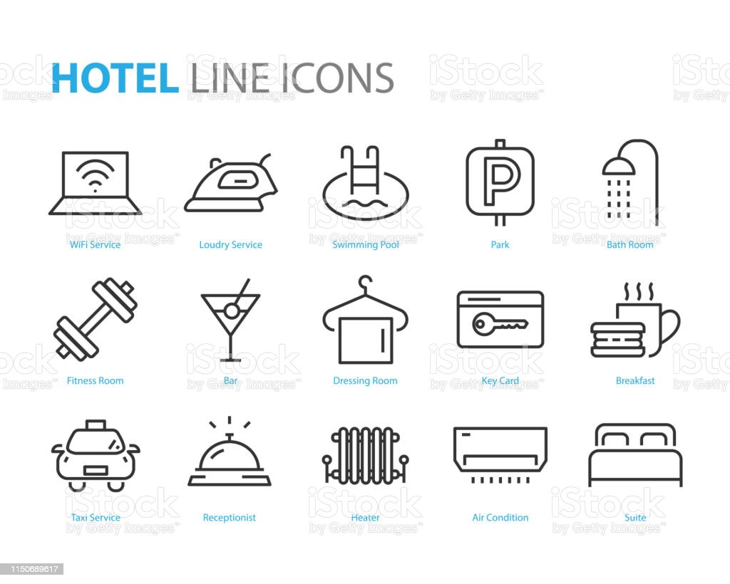 set of hotel icons, such as bed room, lobby, travel, heater, air...
