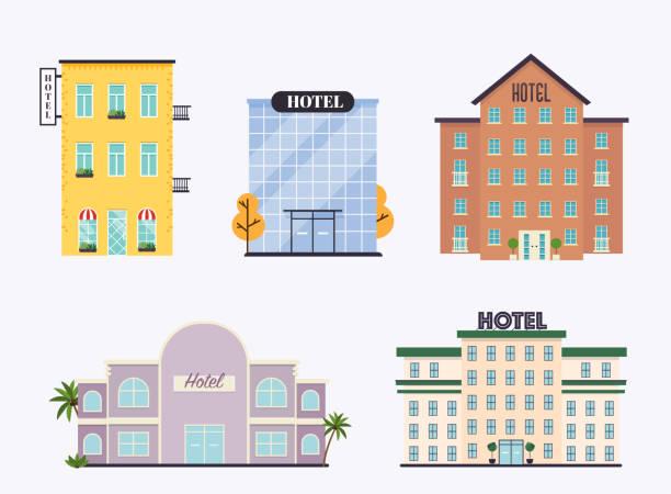 zestaw fasad hoteli. idealny do publikacji internetowych biznesowych i projektowania graficznego. ilustracja wektorowa w stylu płaskim. - hotel stock illustrations