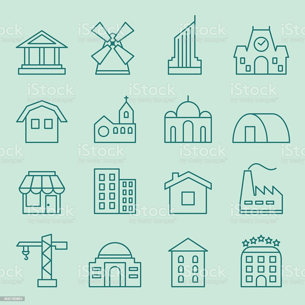 Set of house icons vector art illustration