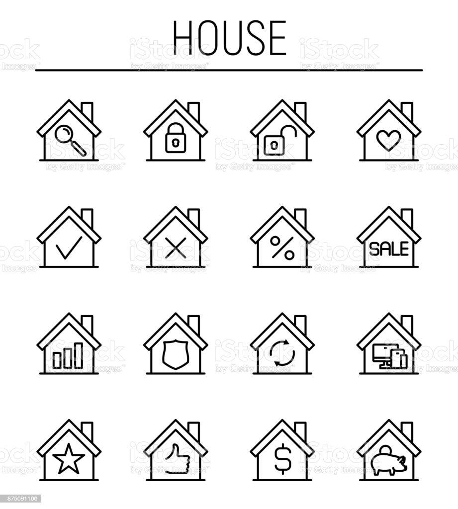 Set of house in modern thin line style. vector art illustration