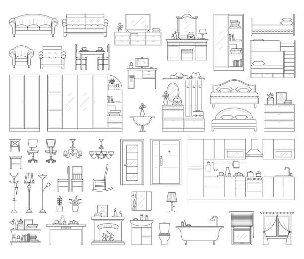 satz von haus inneneinrichtung. - waschküchendekorationen stock-grafiken, -clipart, -cartoons und -symbole