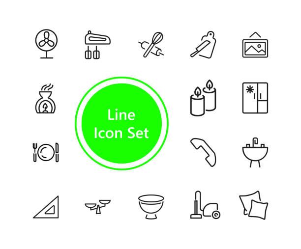 reihe von house keeping linie icons - waschküchendekorationen stock-grafiken, -clipart, -cartoons und -symbole