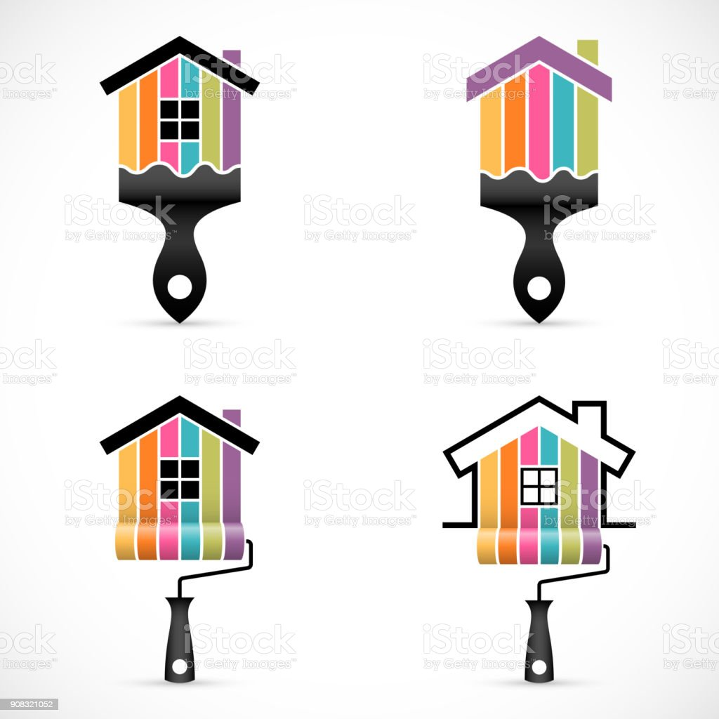 Set of house renovation icons. Painting services icons vector art illustration