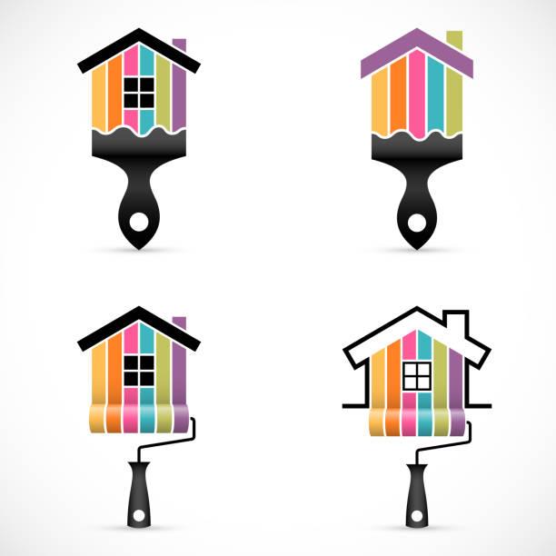 illustrations, cliparts, dessins animés et icônes de ensemble d'icônes de rénovation de maison. icônes de services peinture - logo peintre en batiment