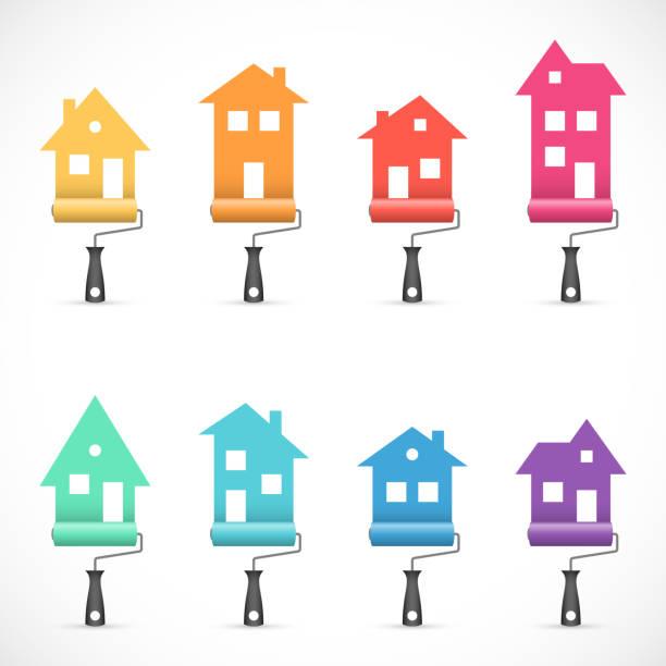 illustrations, cliparts, dessins animés et icônes de set d'icônes rénovation maison avec rouleaux à peinture - logo peintre en batiment