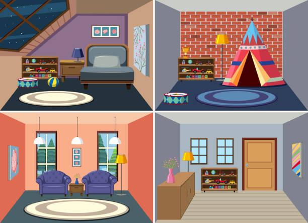 satz von haus innenraum - dachboden stock-grafiken, -clipart, -cartoons und -symbole