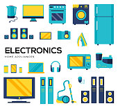 Set of electronics flat colorful icons isolated on white background. Devices using at home in everyday life. Modern technologies. Household appliances vector collection for web, infographic..