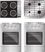 Set of household appliances. Gas and electric cooktop and stove.