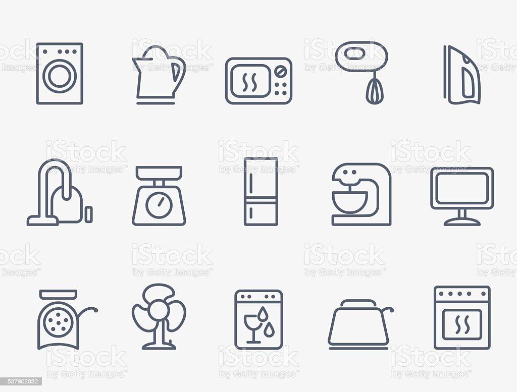 Set of household appliances icons vector art illustration