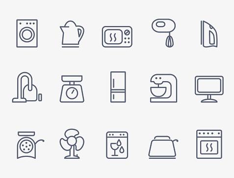 Haushaltsgeräteicons Set Stock Vektor Art und mehr Bilder von Ausrüstung und Geräte
