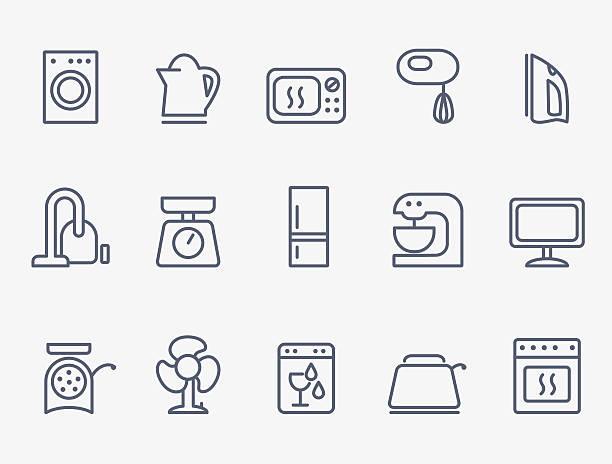 Set of household appliances icons Set of household appliances icons. Thin lines. oven stock illustrations
