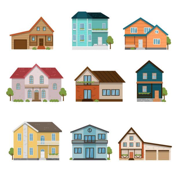 satz von häusern frontansicht symbole isoliert auf weißem hintergrund - landhaus stock-grafiken, -clipart, -cartoons und -symbole