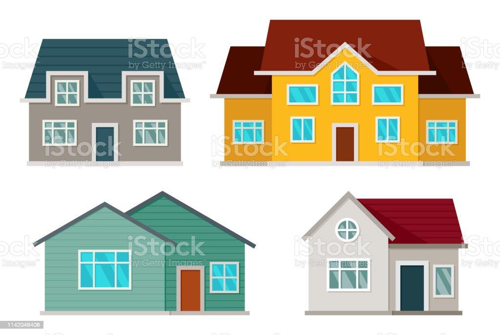 Set of houses front view - Grafika wektorowa royalty-free (Architektura)