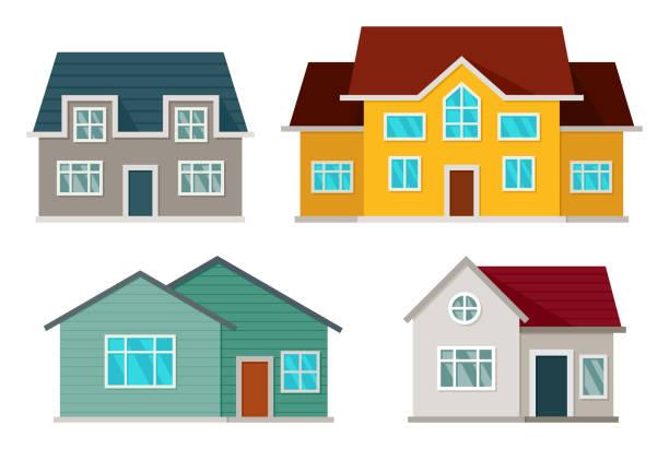 zestaw domów z przodu - house stock illustrations