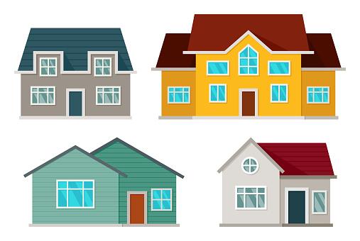 Set Of Houses Front View - Stockowe grafiki wektorowe i więcej obrazów Architektura