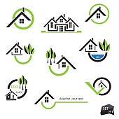 Set of houses icons for real estate business