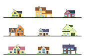 Set of urban and suburban cottage style residential houses, flat style icons. Real estate and construction concept.