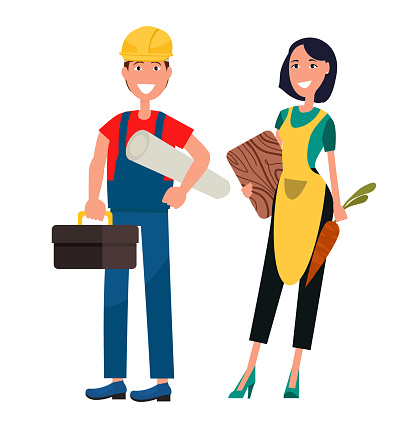 Set of Housewife and Constructor Graphic Design