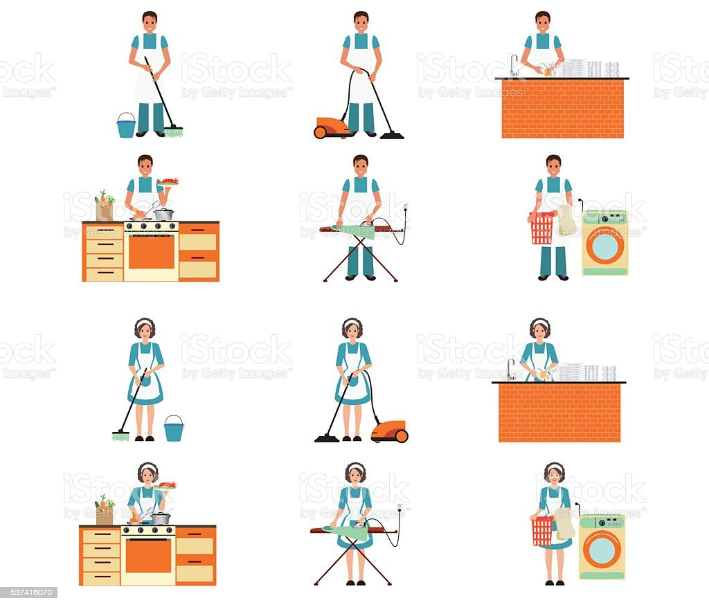 Ein Satz von Hausfrau und Hausmann Reinigung. – Vektorgrafik