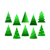 Set of hristmas trees. Beautiful cartoon colorful illustration on white backdrop. Vector design of cartoon christmas tree. Cute vector illustration. Winter season design element.