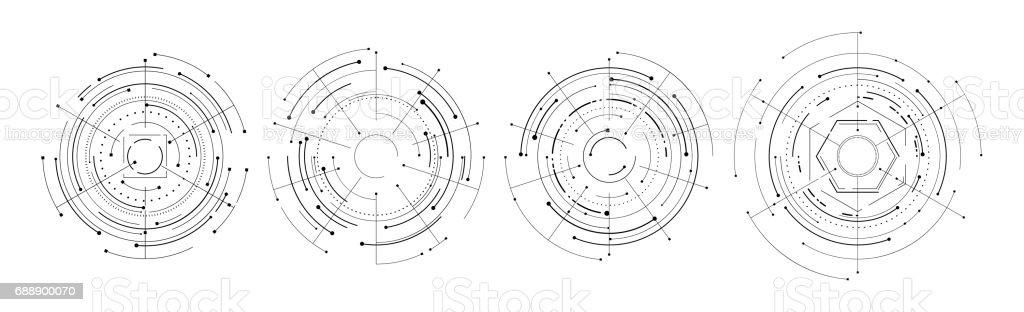 set of hud elements futuristic circle design isolated vector art illustration