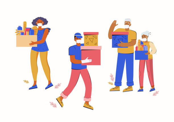 set of human characters, volunteers help an elderly couple. fresh groceries and food delivery for people. charity. young man and woman carry boxes with donations. old senior. help with quarantine - food delivery stock illustrations