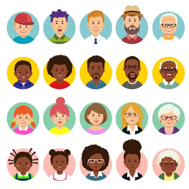 ilustrações, clipart, desenhos animados e ícones de o jogo de faces humanas, avatars, povos dirige a nacionalidade e as idades diferentes no estilo liso. - idoso