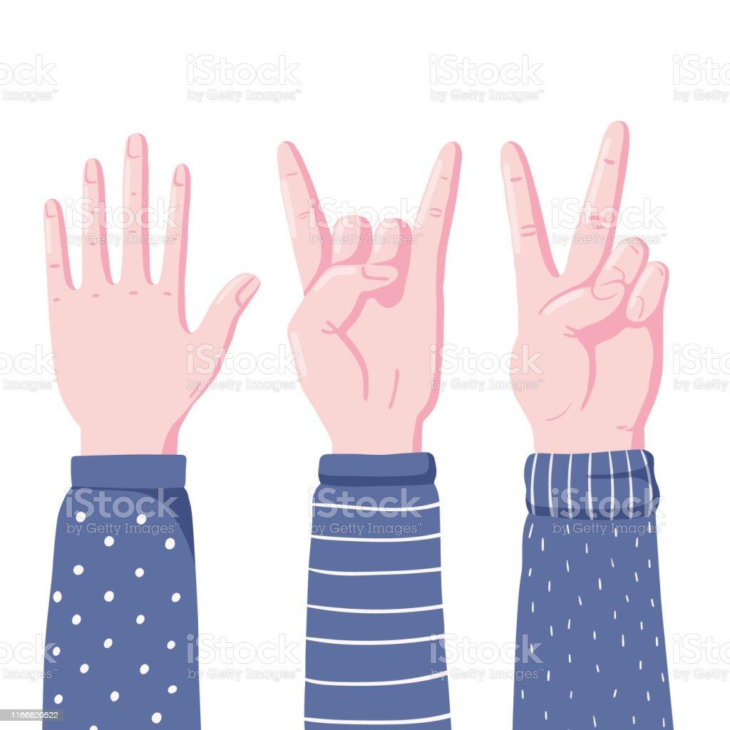 Set of human hands showing gestures - high five, devil horns and...